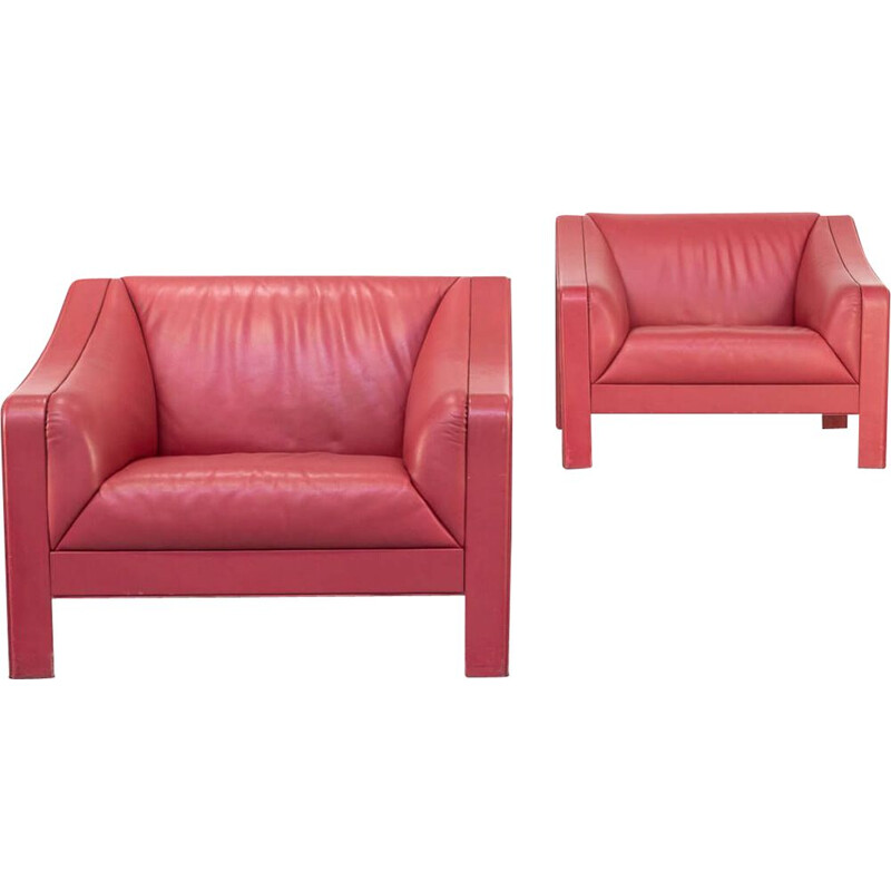 Pair of red vintage leather armchairs, Italy 1980s