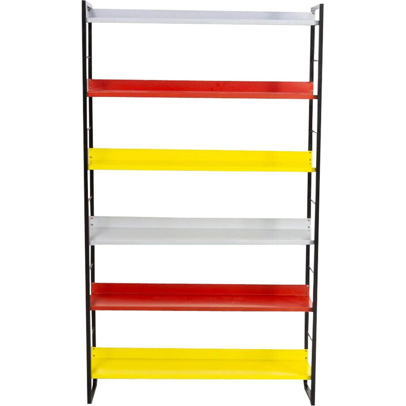 Vintage adjustable colorful shelving units by Tomado, Dutch 1917s