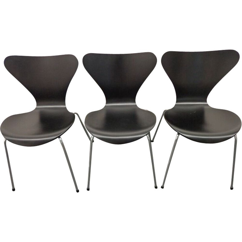 Set of 3 vintage Chair by Arne Jacobsen for Fritz Hansen 1970s