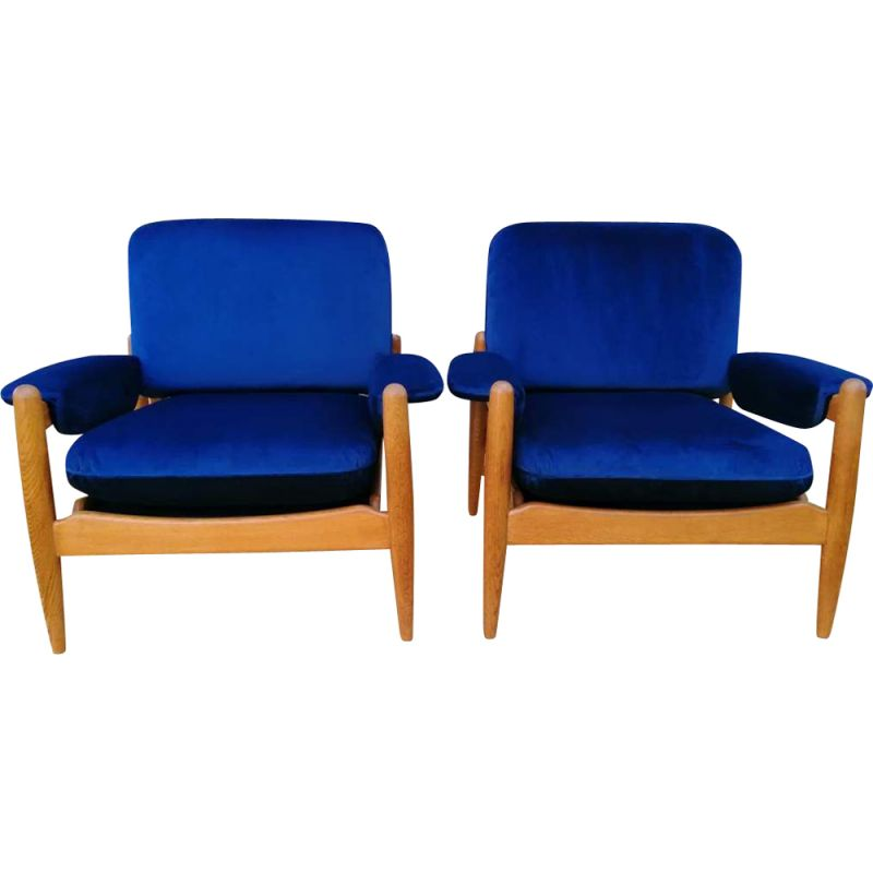 Pair of vintage blue Armchairs, Scandinavian 1960s