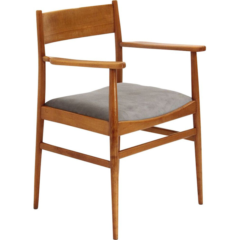 Vintage Chair with armrests in wood and velvet, Italy 1950s