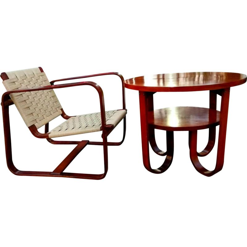 Vintage set armchair coffee table by Giuseppe Pagano Gino Maggioni for Bocconi, Milan 1940s
