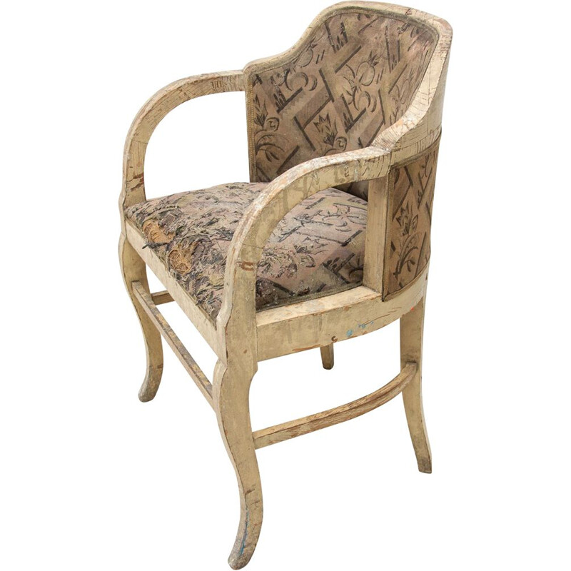 Vintage Art Nouveau oak office armchair, Europe 1910s