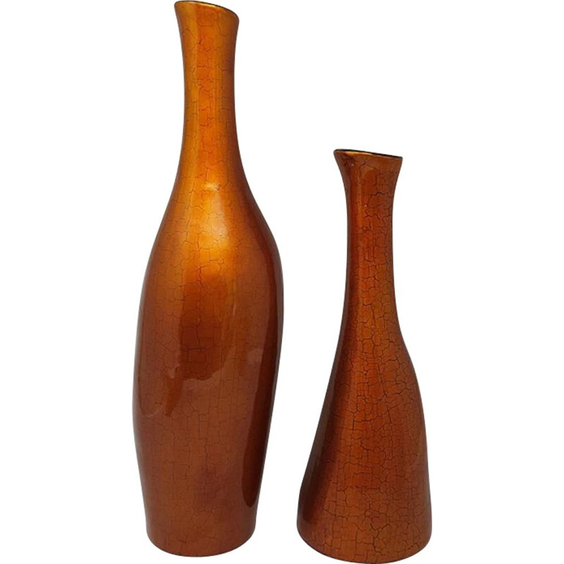 Pair of vintage Ocher Glass Vases, Italy 1950s