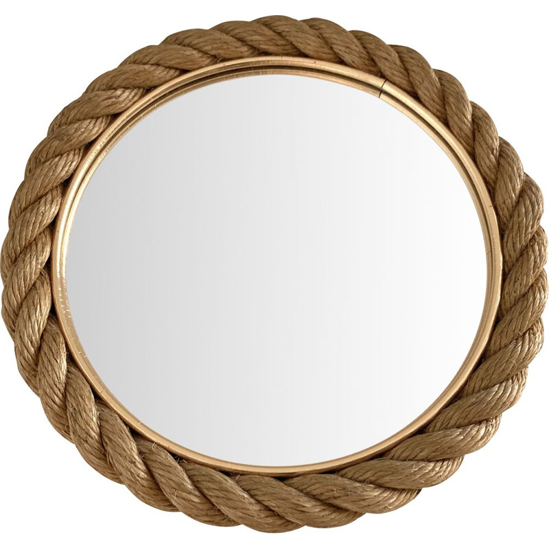 Vintage Rope mirror by Audoux & Minet. France 1950s