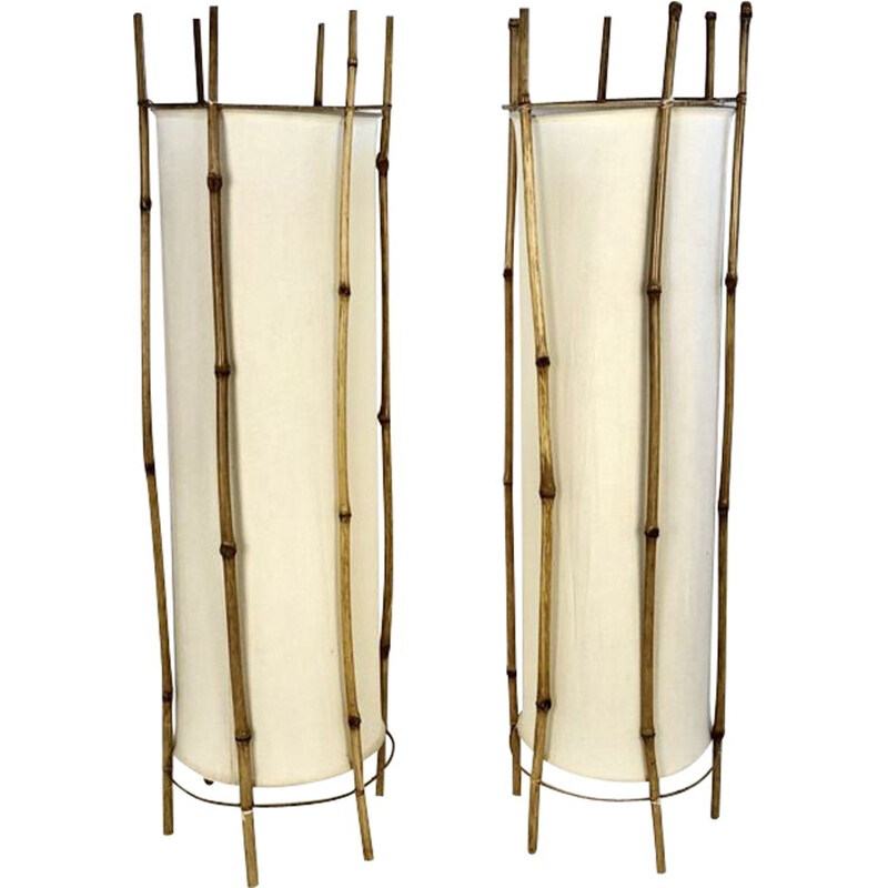 Pair of vintage Bamboo floor lamps by Louis Sognot, France 1950s