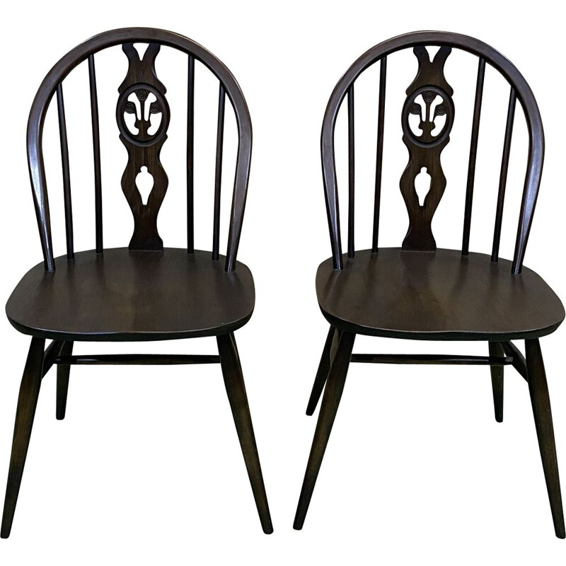 Pair of vintage Ercol beech chairs 1970s