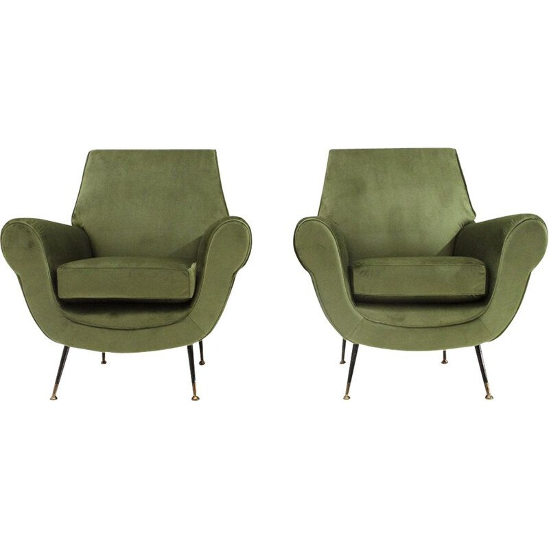 Pair of vintage green velvet armchairs, Italy 1950s