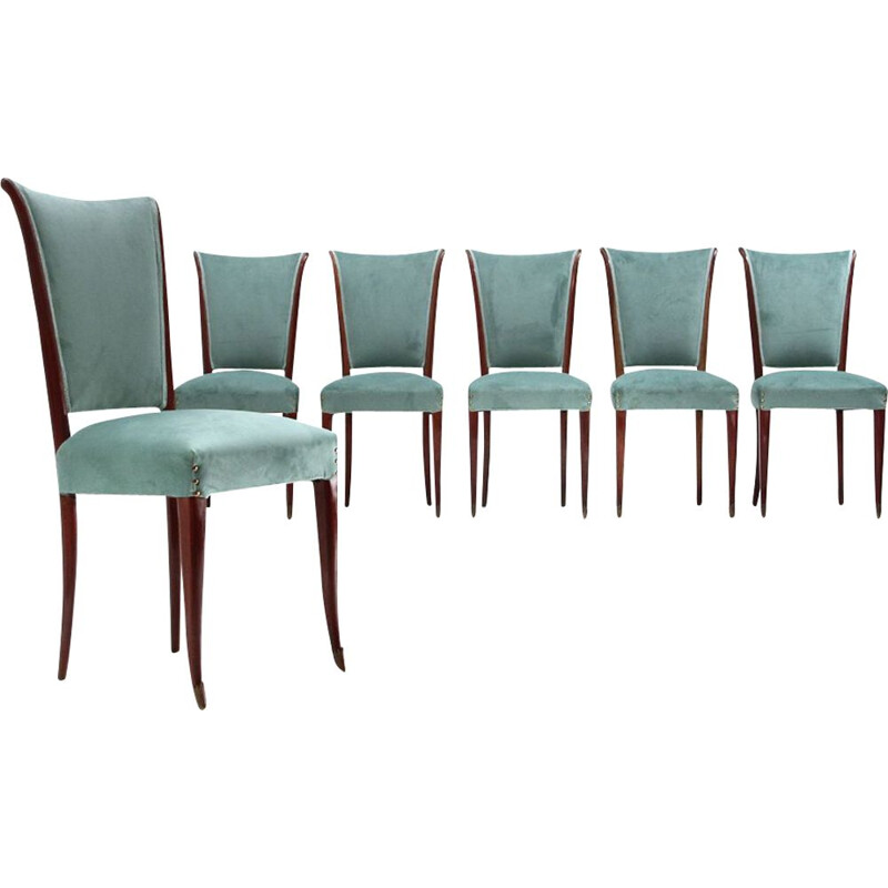 Set 6 vintage chairs in velvet and wood 1950s