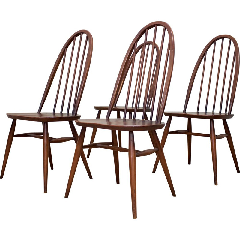 Set of 4 vintage Elm Windsor Dining Chairs by Lucian Ercolani for Ercol, UK 1960s