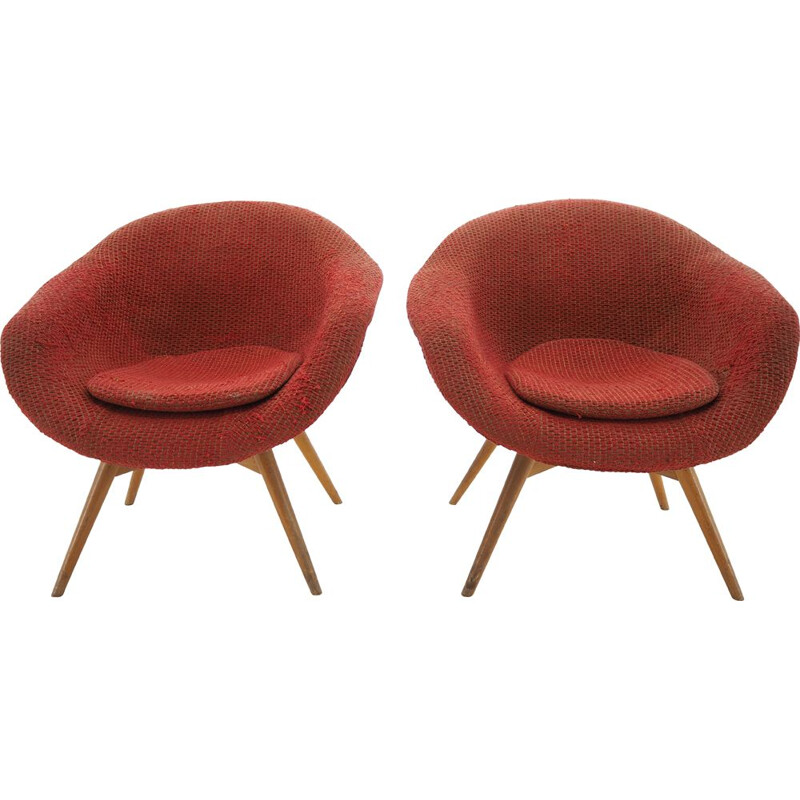 Pair of vintage red Lounge Chairs by Miroslav Navratil, Czechoslovakia 1960s