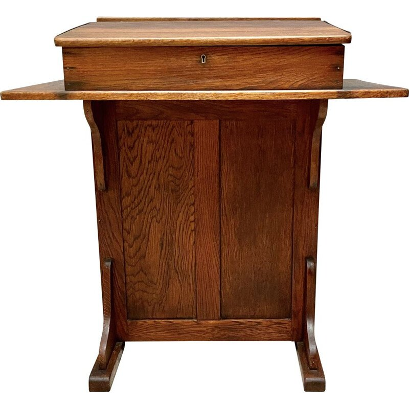Vintage Clerks Desk with Lift up Lid and Cupboard