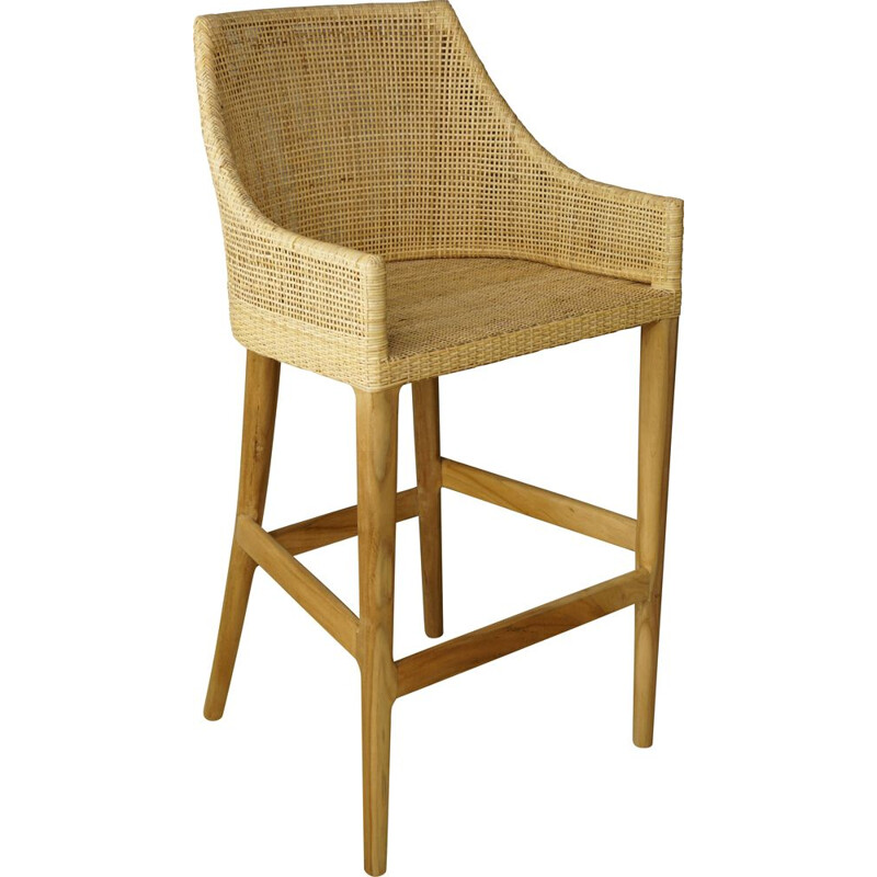 Vintage stool in wood and woven rattan