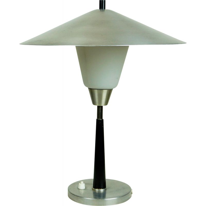 Vintage Aluminum and opaline Glass Table Lamp by Fog & Morup, Denmark 1960s