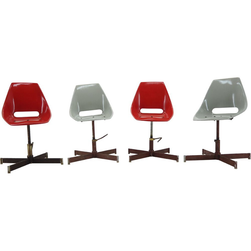 Set of 4 vintage Industrial Chairs 1960s
