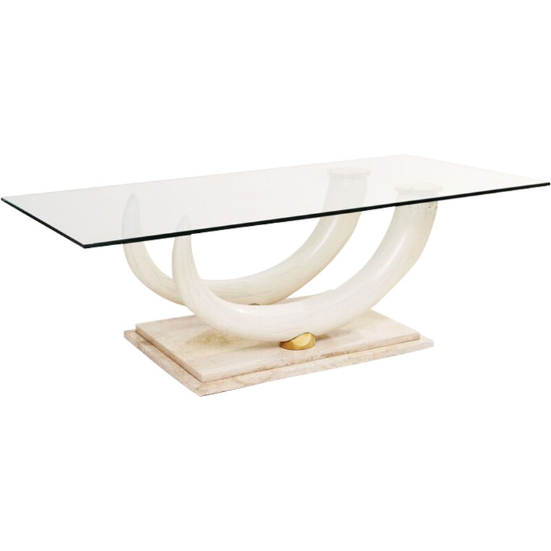 Italian Maison Jansen coffee table for Ralph Pucci in glass and travertine - 1970s