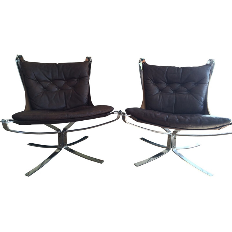 Pair of Falcon armchairs in dark brown leather and metal, Sigurd RESSELL - 1970s