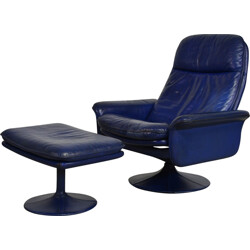 De Sede Armchair with ottoman in blue leather - 1970s