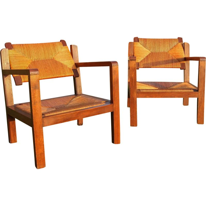 Pair of vintage armchairs with removable wooden and straw backrests 1960