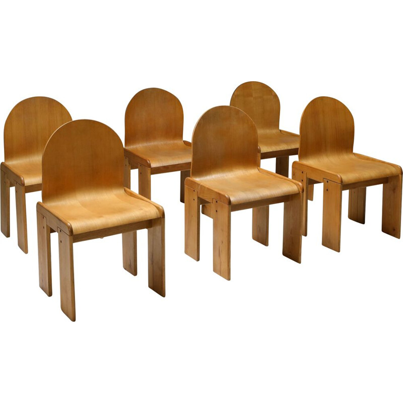 Set of 6 Vintage Plywood Dining Chairs by Afra & Tobia Scarpa Italy 1970s