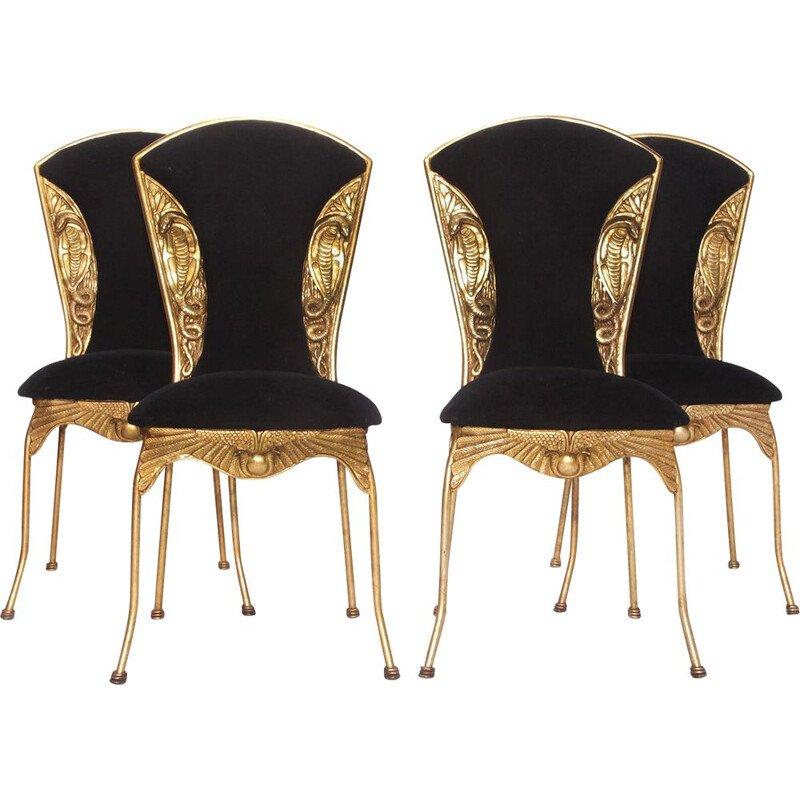 Set of 4 Vintage Dining Chairs, nake Hollywood Regency Egypte Gold Colored 1970s