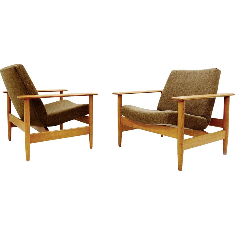 Pair of vintage teak armchairs, 1960
