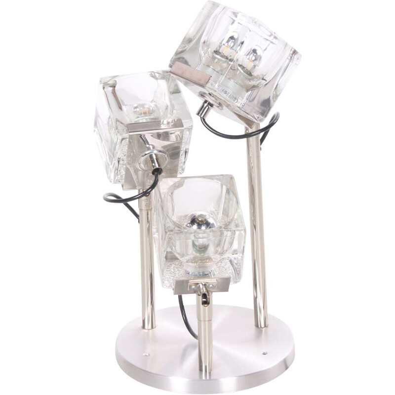 Vintage Glass Cube Ceiling Lamp by Peill & Putzler, German 1970s