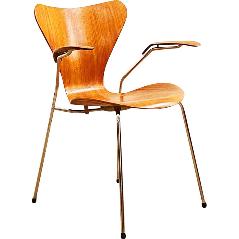 Mid-Century Teak Armrest Chair, Model 3207 by Arne Jacobsen for Fritz Hansen, 1950s