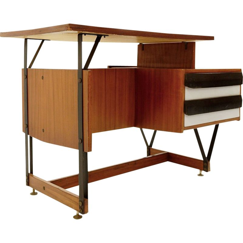 Vintage Wooden Desk with Metal Structure Ico Parisi Italy 1960