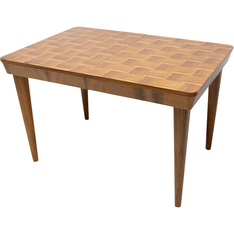 Mid century adjustable Dining Table with a chess pattern by Jindřich Halabala Czechoslovakia 1950s