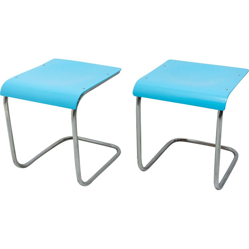 Pair of vintage cantilever stools H-22 by Mart Stam for Slezák company, 1930s