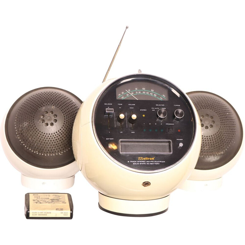 Vintage Space ball radio & 8 track cassette player with matching speakers by Weltron, Japan 1970s