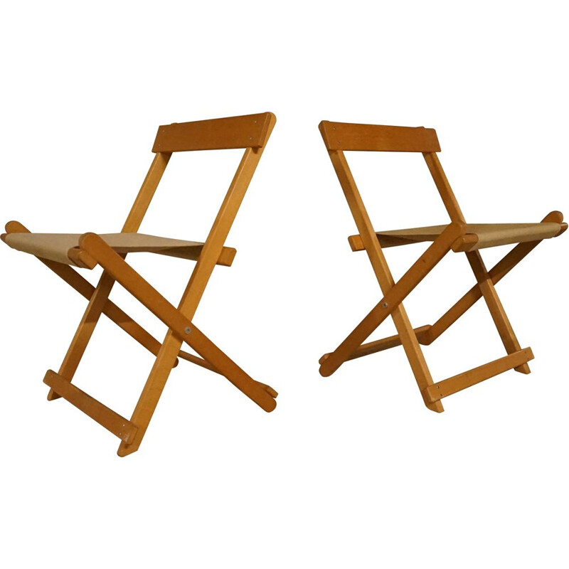 Pair of vintage BM45701 Folding Chairs in Beechwood with Canvas by Borge Mogensen for Soborg Furniture, 1960s