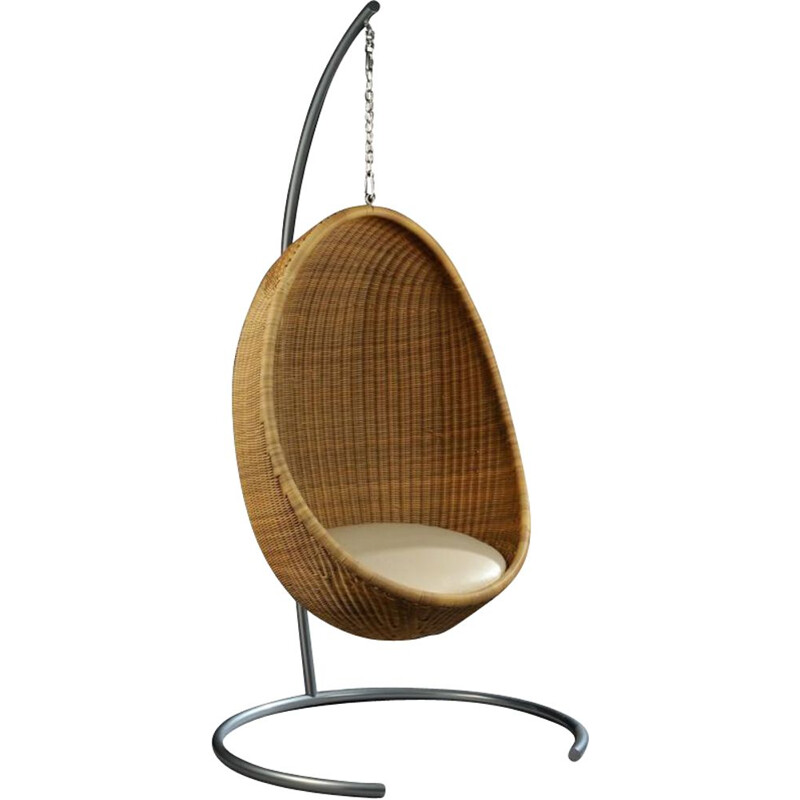 Vintage rattan hanging egg armchair by Nanna Ditzel 1950s