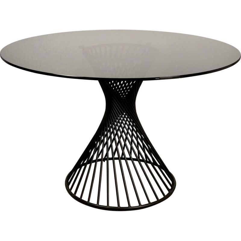 Vintage Round Dining Table With Black Iron Legs And Grey Smoked Glass Top Calligaris Italy 1950s Design Market - How To Remove Leg From Glass Table Top