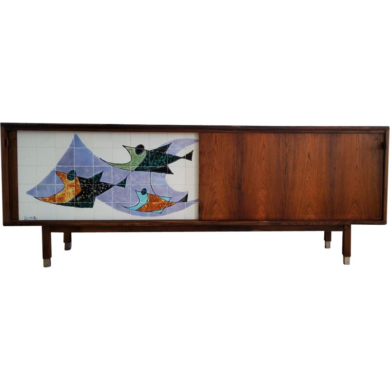 Vintage sideboard with ceramic by Alfred Hendrickx