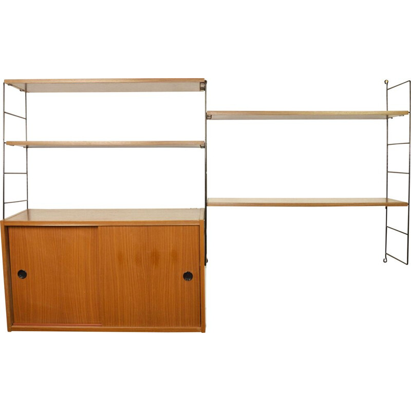 Vintage modular bookcase by K. and N. Strinning for String, Sweden 1960s
