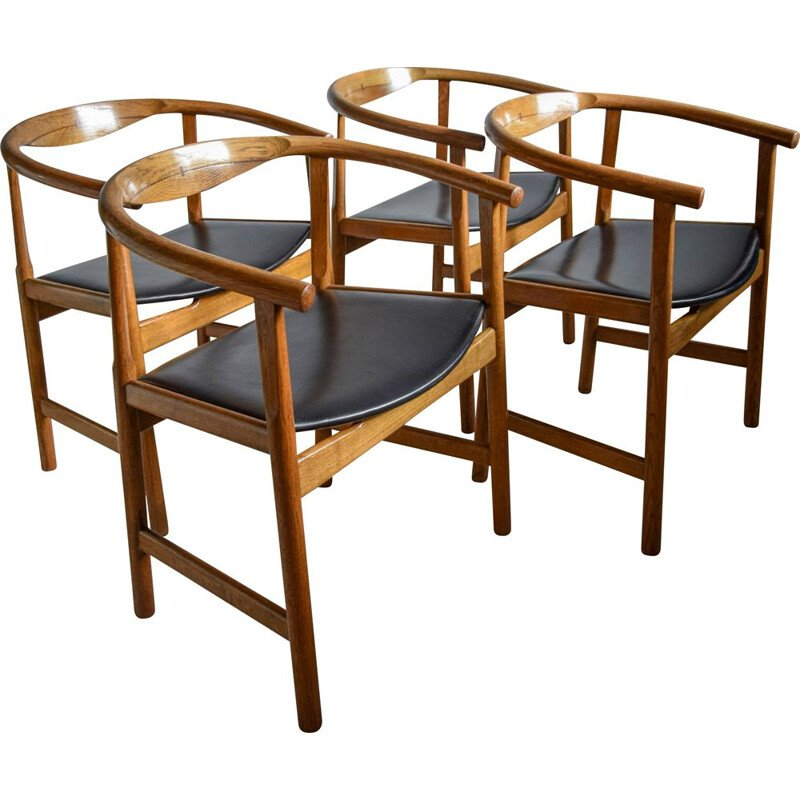 Set of 4 vintage PP 203 modern oak and wenge chairs by Hans Wegner 1969