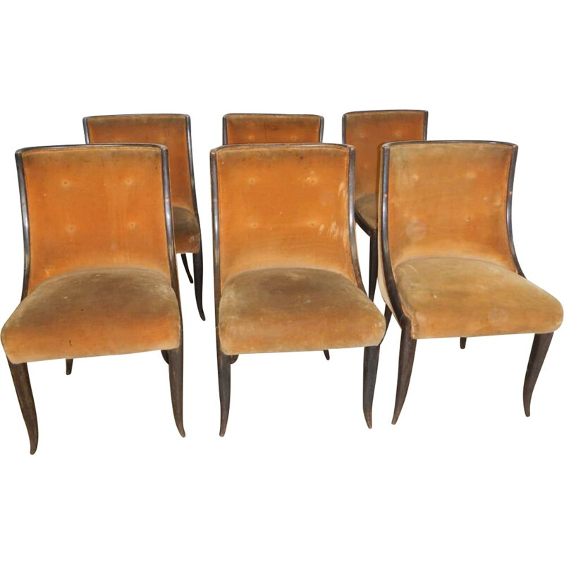 Set of 6 vintage Buffa padded chairs