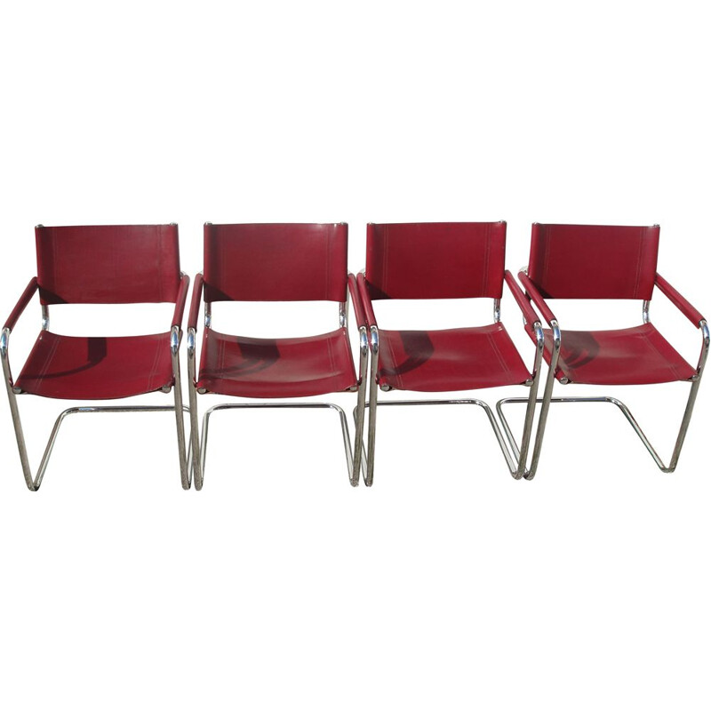 Set of 4 vintage leather and chrome chairs by Marcel Breuer