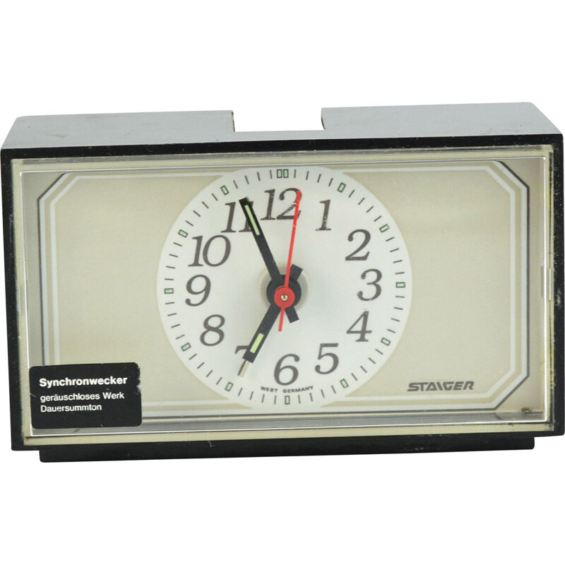 Vintage electric clock with Staiger alarm clock, Germany 1970