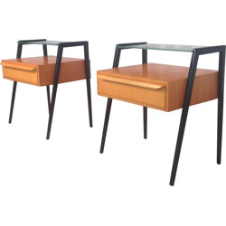 Pair of Italian night stands in lacquered wood and glass - 1960s