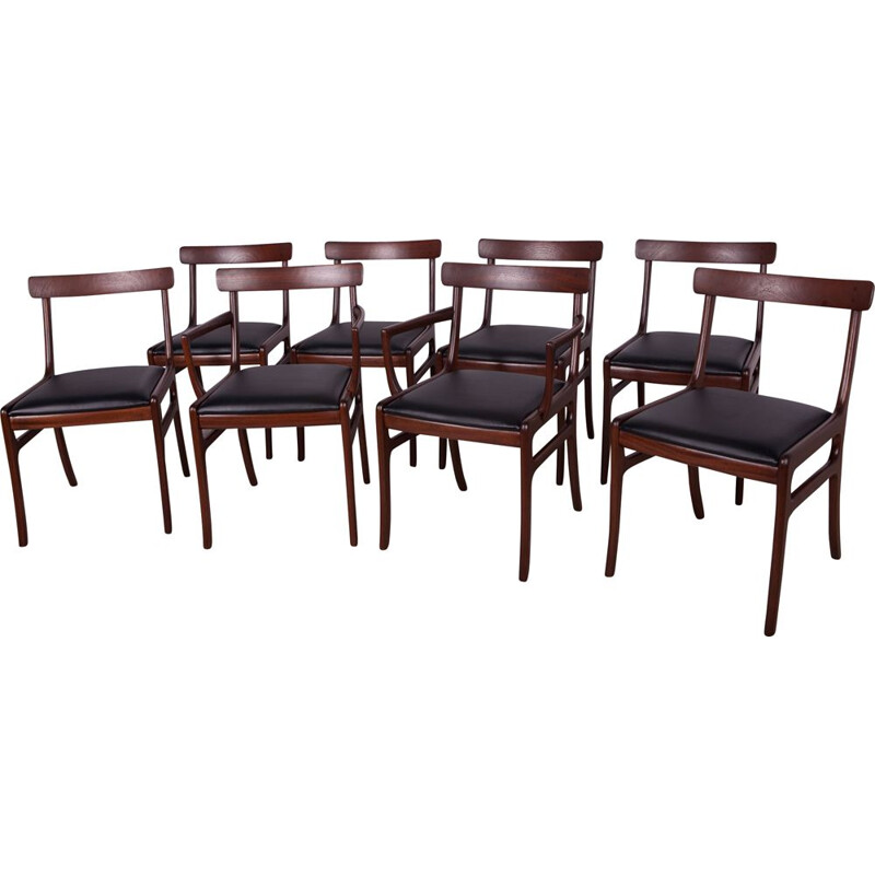 Set of 8 vintage Dining Chairs by Ole Wanscher for Poul Jeppesens Møbelfabrik, Danish 1960s
