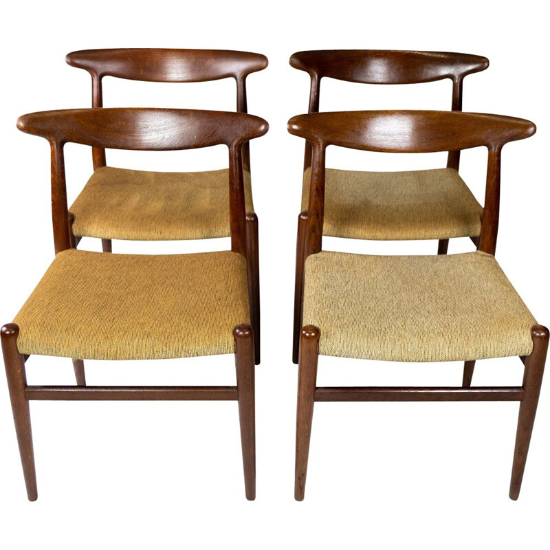 Set of 4 vintage dining room chairs model W2 by Hans J. Wegner 1960s