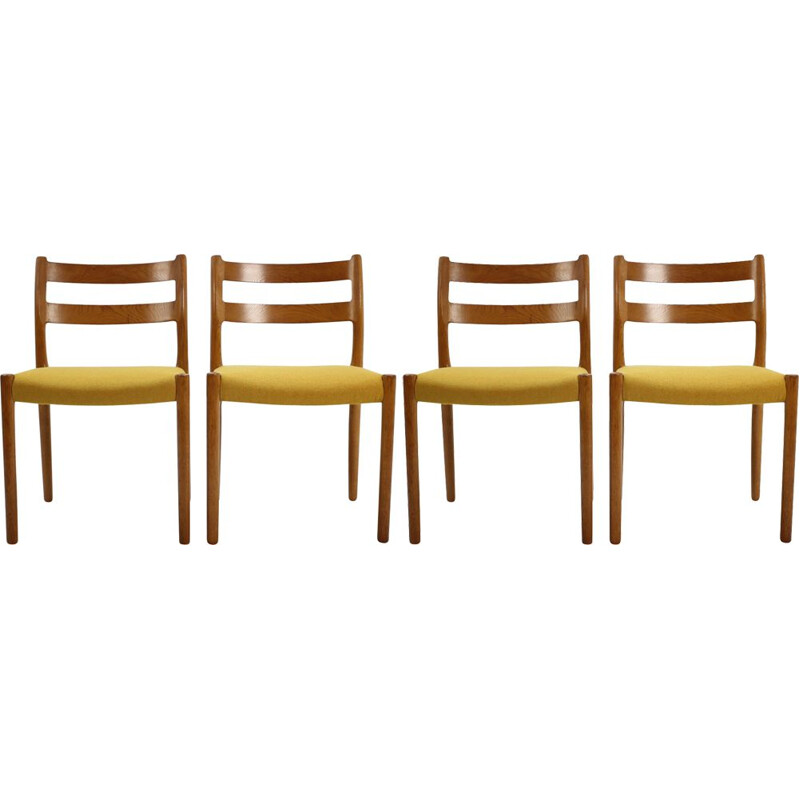 Set of 4 vintage oak chairs by N.O. Moller 1960
