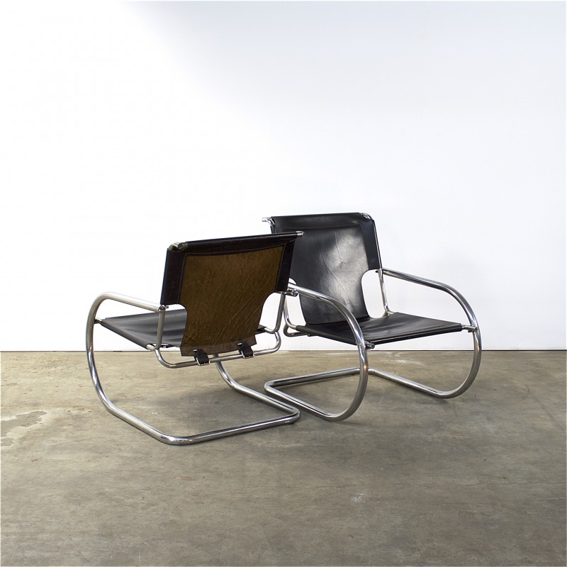 Pair of Italian Arrben chairs in chrome