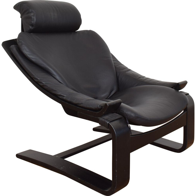 Mid-Century Kroken Leather Lounge Chair by Ake Fribyter for Nelo Möbel 1970s