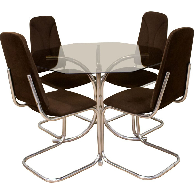 Mid-Century Glass Dining Table & Chairs Set 1960s
