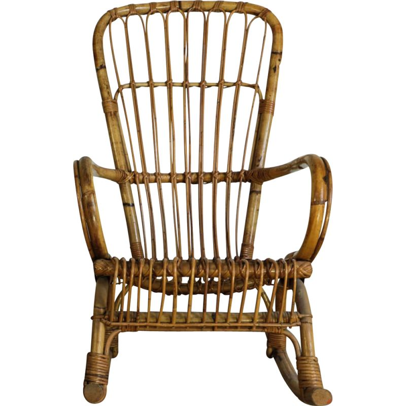 Vintage rattan rocking chair, Italian 1950s