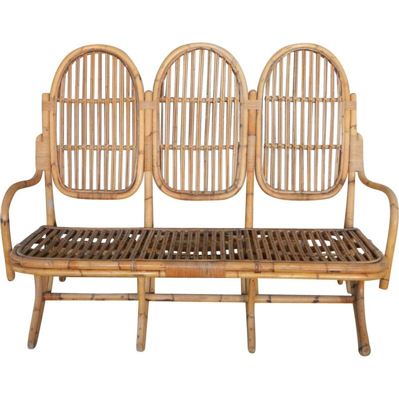 Vintage bamboo bench 1960s